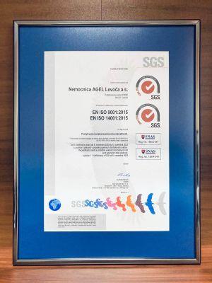 Levočská nemocnica získala certifikát kvality ISO 9001 a ISO 14 001